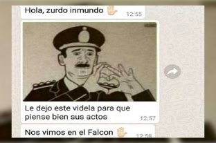 El diputado Nicolás Del Caño recibió amenazas de muerte - Una de las amenazas que Del Caño recibió a su teléfono celular. -