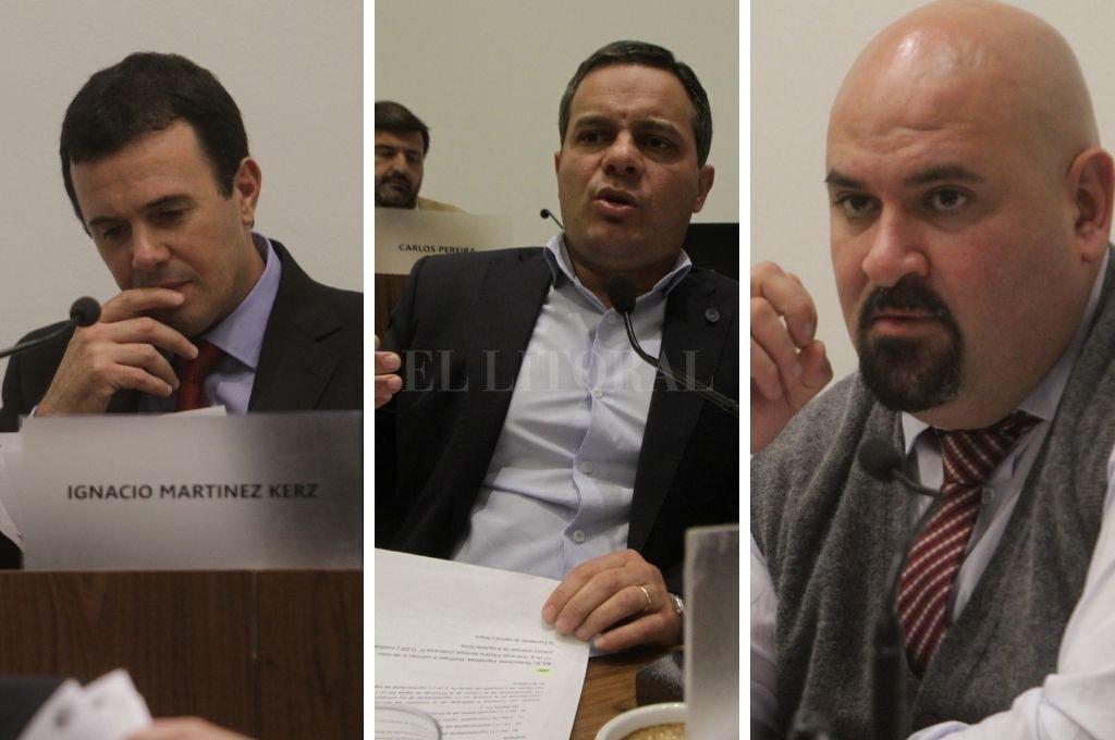 De izq. a der., Ignacio Martínez Kerz (PJ), Leandro González (FPCyS) y Carlos Suárez (Cambiemos). Crédito: Archivo El Litoral. Mauricio Garín.