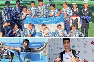 Argentina cosechó medallas de oro en rugby, lanzamiento de bala y volcadas - Arriba Los Pumitas (rugby), abajo a la izquierda Nazareno Sasia (lanzamiento de bala), y a la derecha Fausto Ruesga (volcadas en básquet masculino), las medallas doradas de la jornada. -
