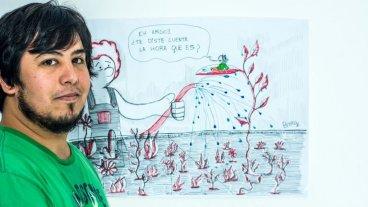 """Lo cotidiano en viñetas - Para la organización cotidiana de su trabajo, Agustín Brocado (o """"Broka"""", el seudónimo que utiliza para firmar sus ilustraciones) trata de enfocarse en el hábito de dibujar. """"Yo sé que todas las semanas tengo que cumplir con tal cantidad de viñetas y trato de ser lo más riguroso posible"""". -"""
