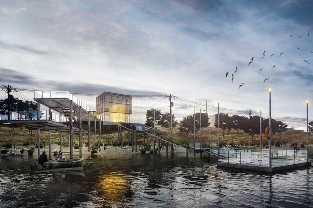 Proyectan un muelle de embarque en la costa del distrito Alto Verde - Maqueta. La imagen muestra cómo quedaría el muelle de embarque en la ribera de Alto Verde, frente a los elevadores de granos del Puerto capitalino. -