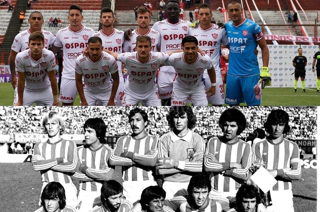 El Unión que le ganó a Argentinos y el equipo de 1979: De pie: Regenhardt, Hugo López, Cárdenas, Pumpido, Telch y Mazzoni. Agachados: Ribeca, Alberto, Paz, Pitarch y Alí. Crédito: El Litoral