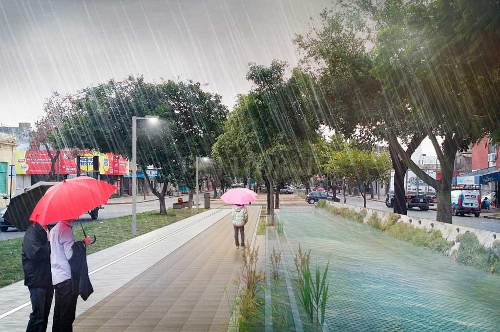 Amortiguador. Es quizá la obra más novedosa en cuanto a lo urbanístico y ayudará a contener el agua de lluvia. Crédito: Gentileza Municipalidad de Santa Fe