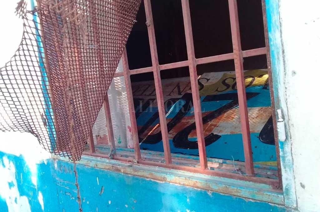Los daños en el jardin ubicado en Espora 6300, frente a la parroquia. El Litoral