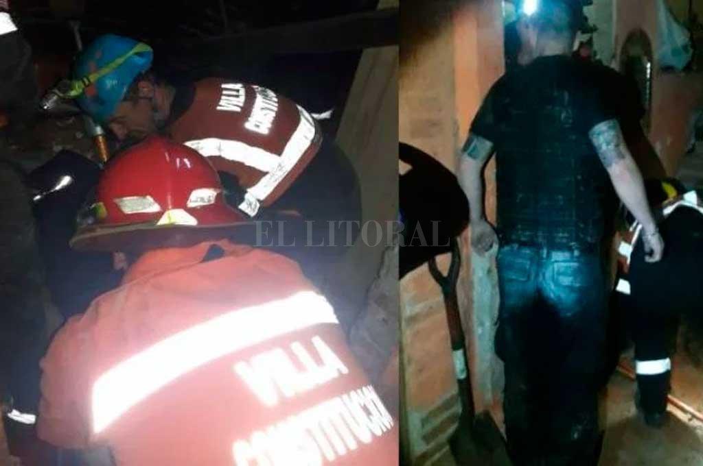 Los bomberos y policías en plena acción para ayudar a la pareja.  <strong>Foto:</strong> Gentileza