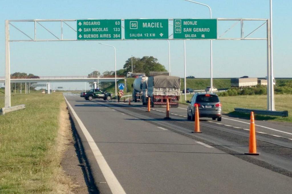 Agregan un corte parcial en la autopista Santa Fe - Rosario