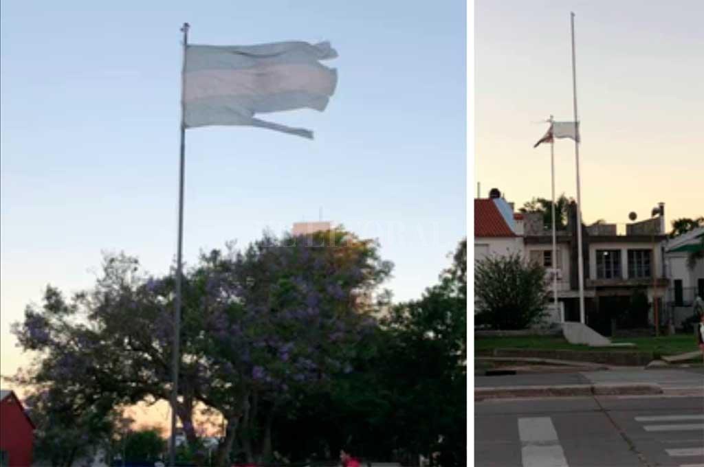 Dos banderas de Argentina en estado deplorable en la ciudad