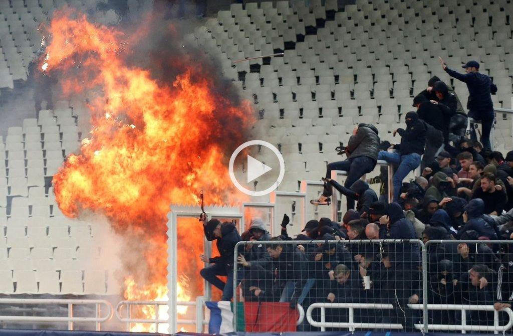 Brutal pelea entre ultras del Ajax y el AEK — Infierno en Atenas