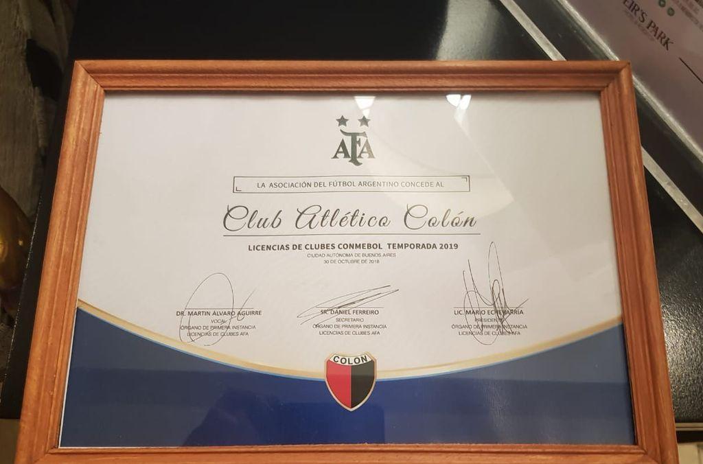 La AFA le envió a Colón la Licencia para la Copa Sudamericana 2019