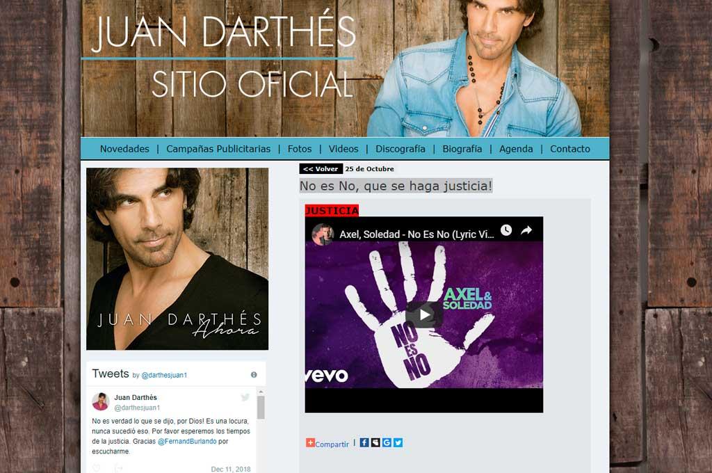 Hackearon la web de Juan Darthés