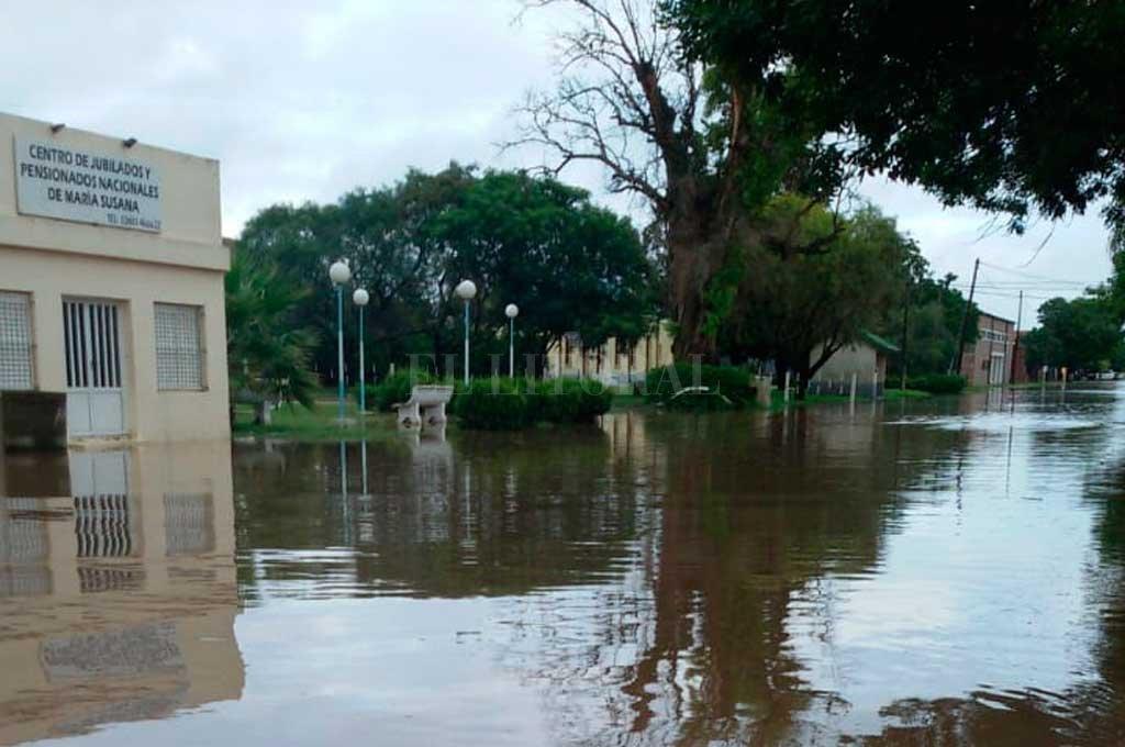 Las calles de María Susana con mucha agua <strong>Foto:</strong> Gentileza