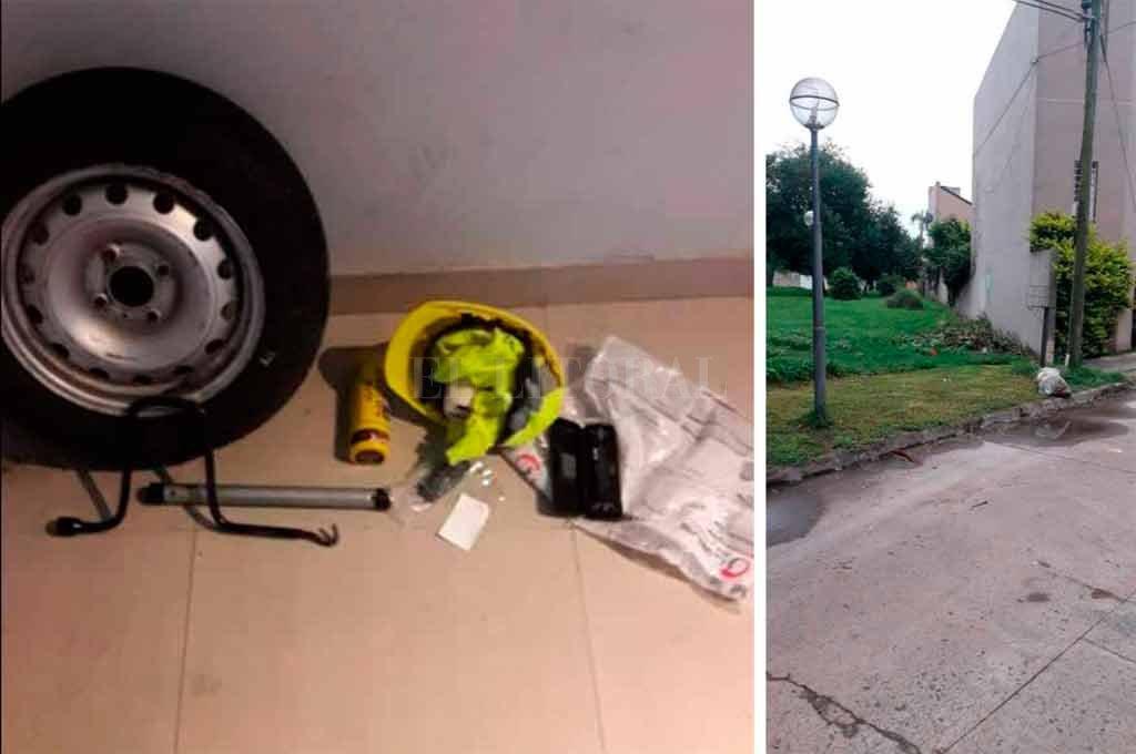 Los objetos encontrados, escondidos entre ramas (izq). La zona donde se produjo el robo (der) <strong>Foto:</strong> Periodismo Ciudadano / WhatsApp