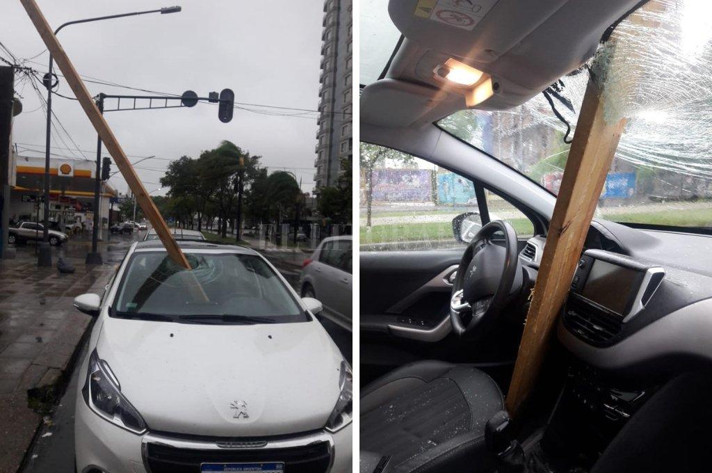Elocuente. El impacto de la viga de madera podría haber sido directo sobre el conductor, que se salvó de milagro.  Crédito: Gentileza.