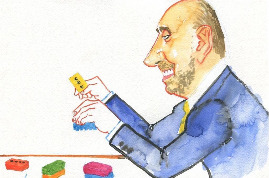 """Omar Perotti, precandidato a gobernador justicialista, estudia el """"armado"""" de su propuesta. <strong>Foto:</strong> Ilustración: Lucas Cejas"""
