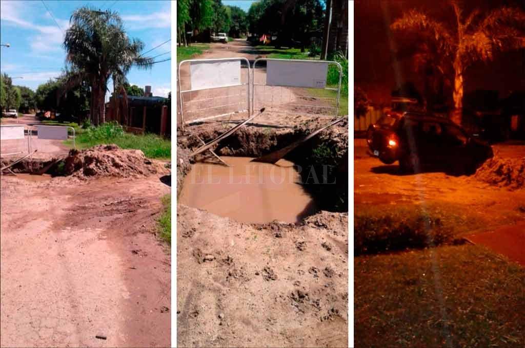 Calle Alsina al 9300. Un pozo genera inconvenientes para los vecinos.  <strong>Foto:</strong> Periodismo Ciudadano / WhatsApp