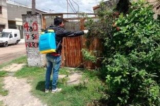 Confirman un caso de dengue en un barrio del sur de la ciudad de Santa Fe - Personal del municipio realiza trabajos en el lugar que se detectó el caso