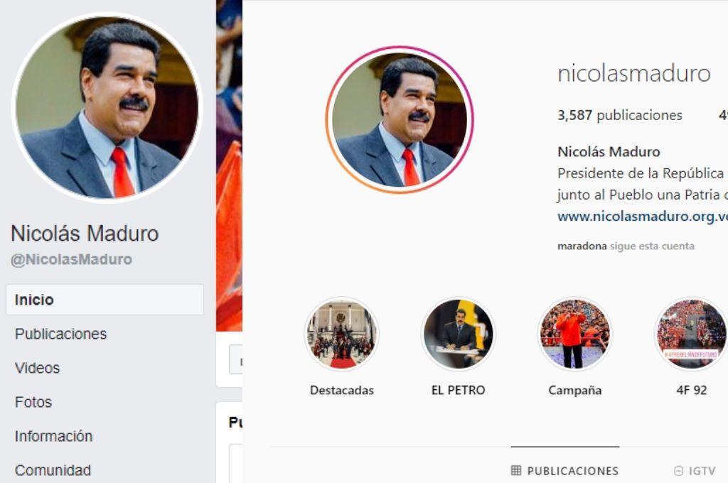 Facebook e Instagram retiraron el símbolo de verificación a las cuentas de Nicolás Maduro