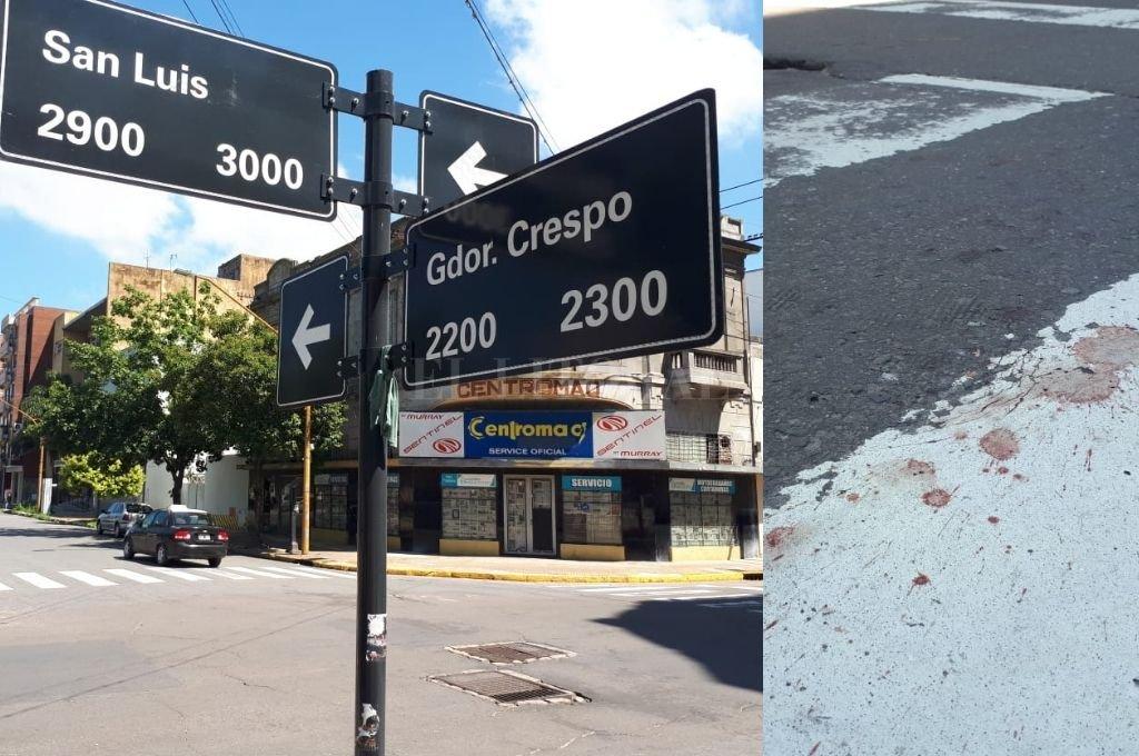 El trágico incidente ocurrió en la ochava noreste de la histórica Plaza España / Un extenso rastro de sangre quedó marcado en la senda peatonal de San Luis y Crespo. <strong>Foto:</strong> Danilo Chiapello