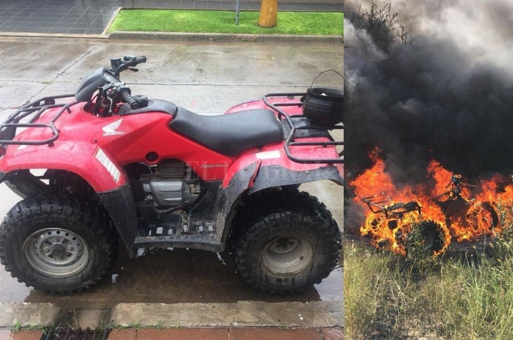 Antes y después. El cuatriciclo Honda 250 cc después que lo llevaron los ladrones. <strong>Foto:</strong> Gentileza