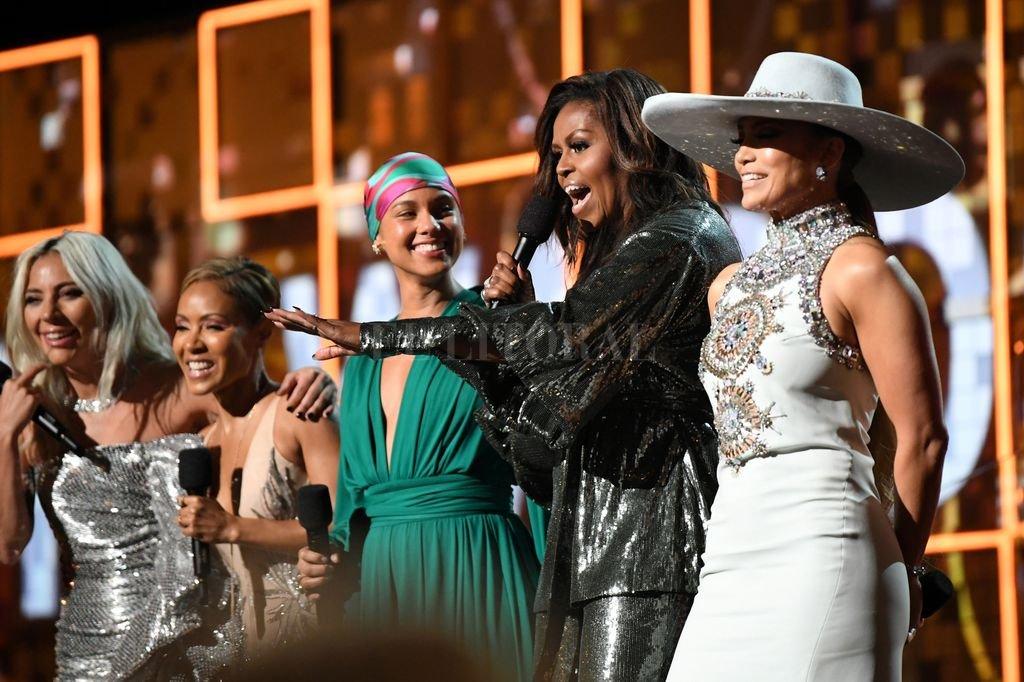 Lady Gaga, Jada Pinkett Smith, Alicia Keys, Michelle Obama y Jennifer Lopez en apertura de los Grammys 2019. Crédito: Archivo