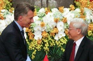 """Argentina y Vietnam hacia una asociación integral para """"multiplicar el intercambio comercial"""" - Los presidentes de Argentina, Mauricio Macri, y de Vietnam, Nguyen Phu Trong, en la reunión desarrollada en Hanoi. -"""