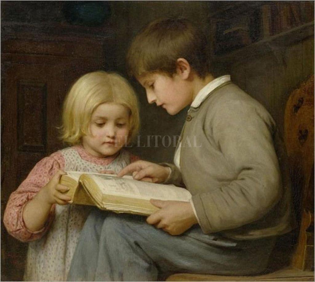 La lectura en grupo logra una vivencia estética muy particular. <strong>Foto:</strong> Obra de Albert Anker