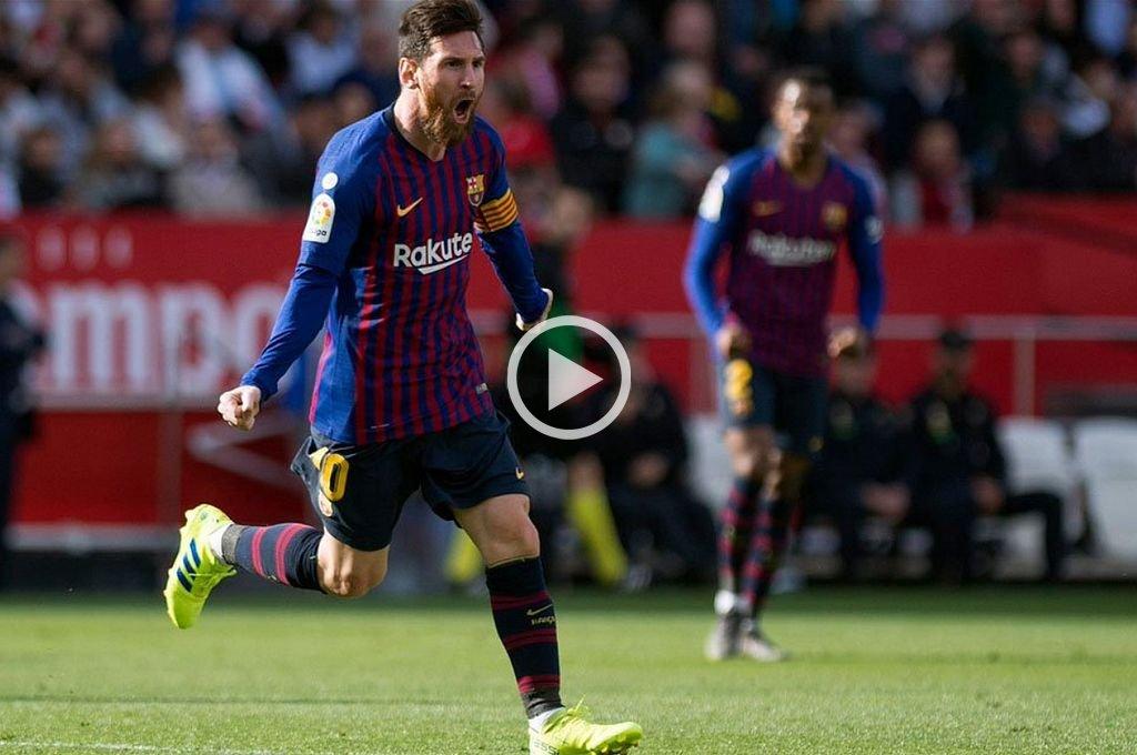 Tres goles de Messi en la victoria de Barcelona sobre Sevilla