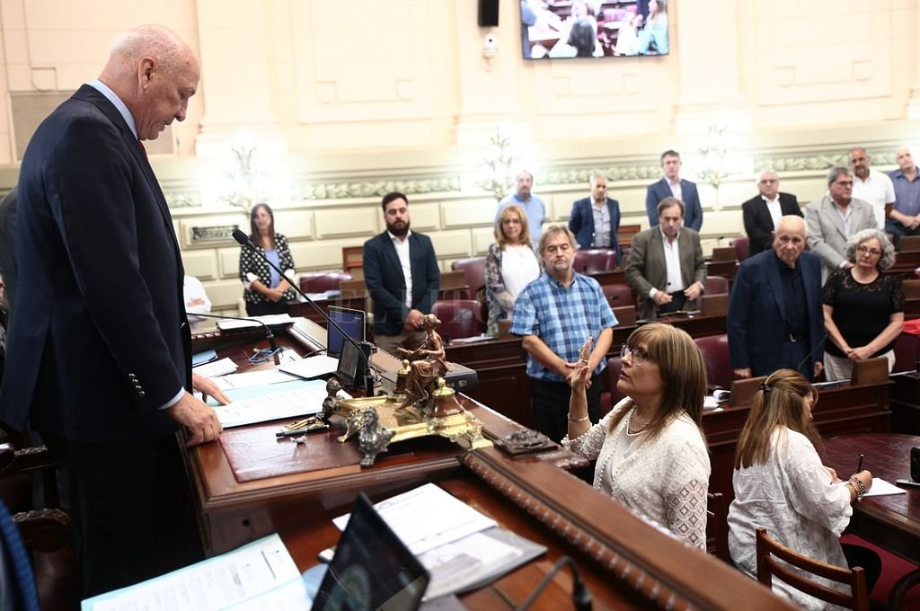 Bonfatti le tomó el juramento a Bertone, oriunda de María Juana con residencial actual en Sa Pereira. <strong>Foto:</strong> Cámara de Diputados