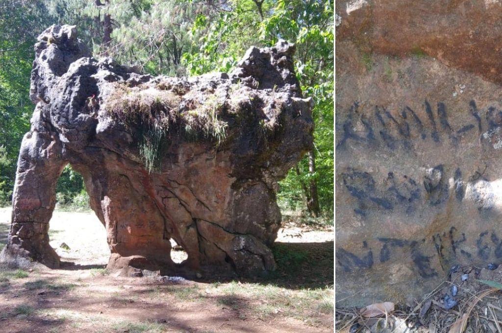 Indignante: Una familia pintó una piedra de más de 65 millones de años