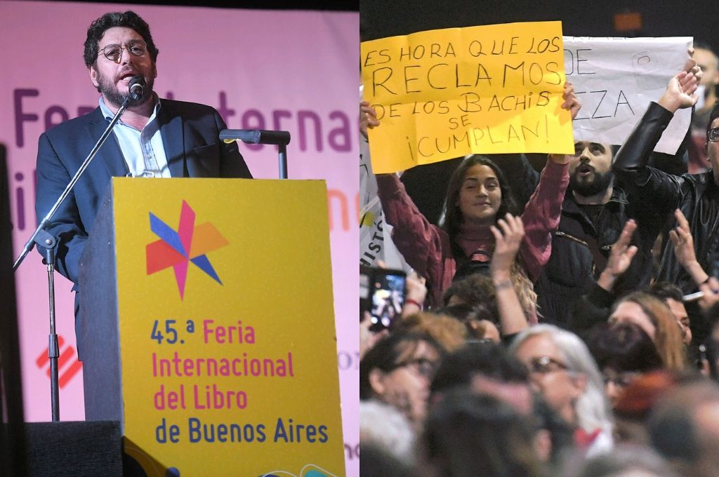 Protesta contra Avelluto en la apertura de la Feria del Libro