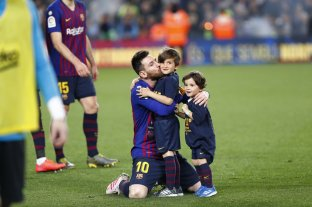 El festejo de Messi con su familia