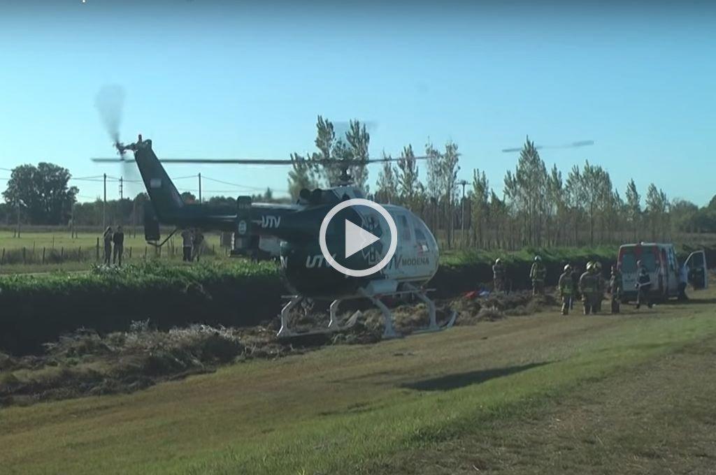 Una mujer fue trasladada en helicóptero tras accidentarse en la autopista Rosario - Córdoba
