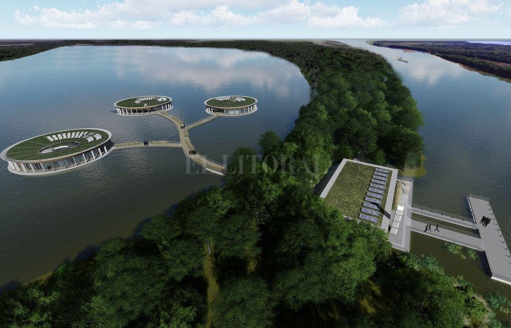 Proponen una sede flotante para el Parque Nacional Islas de Santa Fe - Irupé. Es la flor que crece en las lagunas internas y bañados del delta, y fueron las que le dieron la idea al proyecto para imitarla, como puede verse en la imagen digital. -