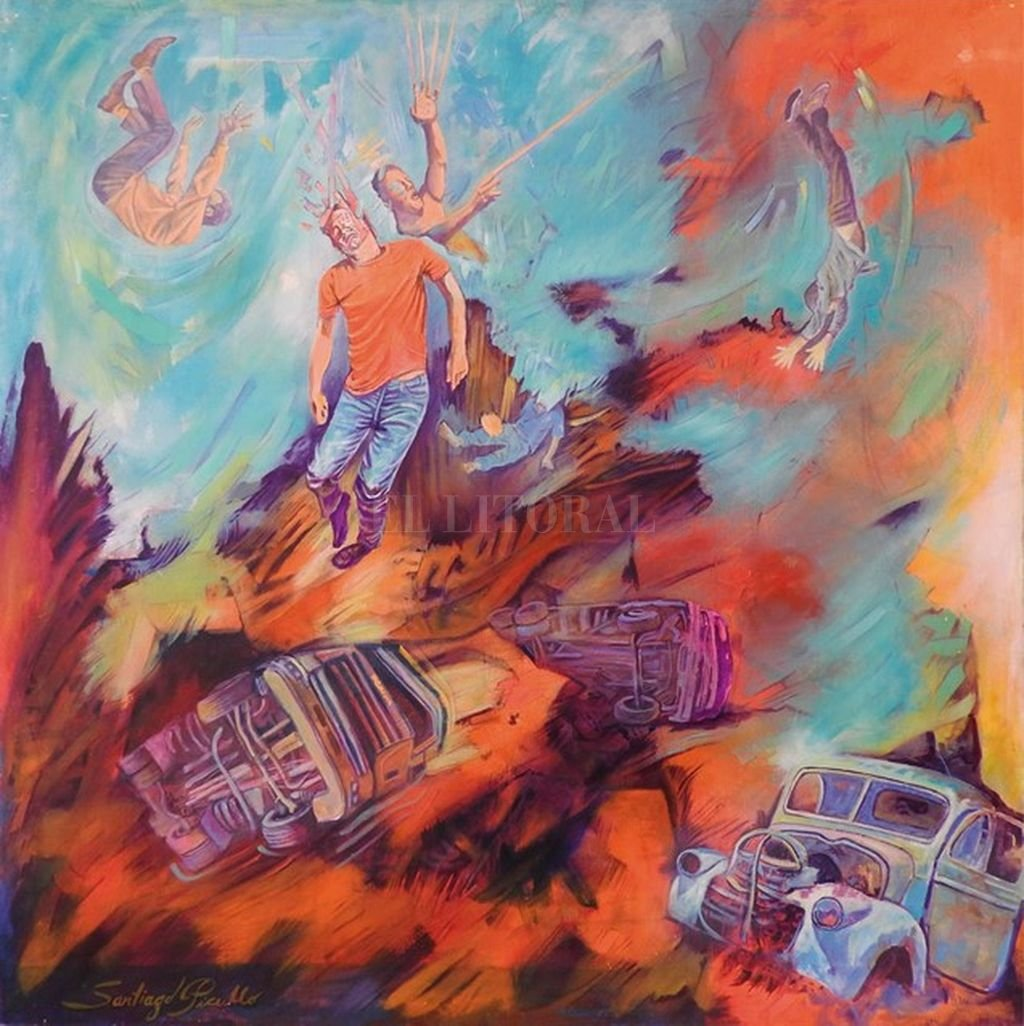 """""""En caída"""", pintura de Santiago Picullo.  <strong>Foto:</strong>  Gentileza Aaps"""