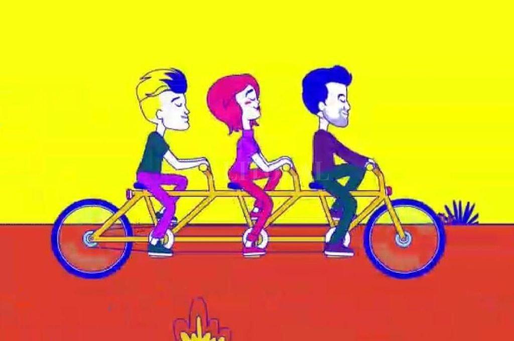 """Santi Celli, Zoe Gotusso y Mansutti, en versión animada por Ariel Gaitán, para el videoclip de """"Otra vez, mañana"""". Crédito: Gentileza Estudio Shusho"""