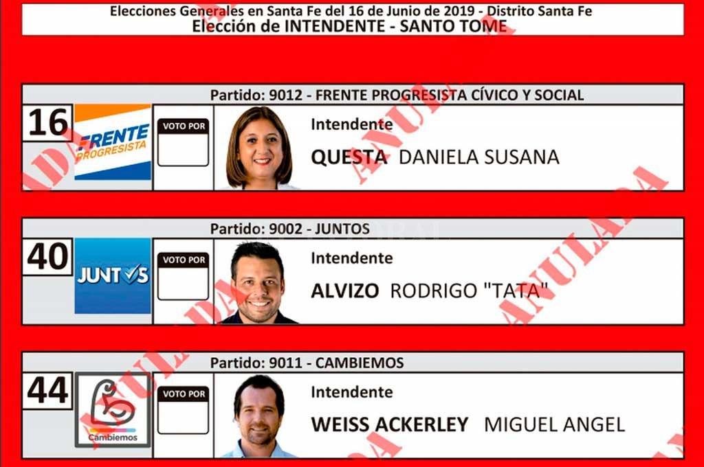 En la boleta para Intendente, aparecen Daniela Qüesta, Rodrigo Alvizo y Miguel Weiss Ackerley.  <strong>Foto:</strong> Tribunal Electoral Santa Fe