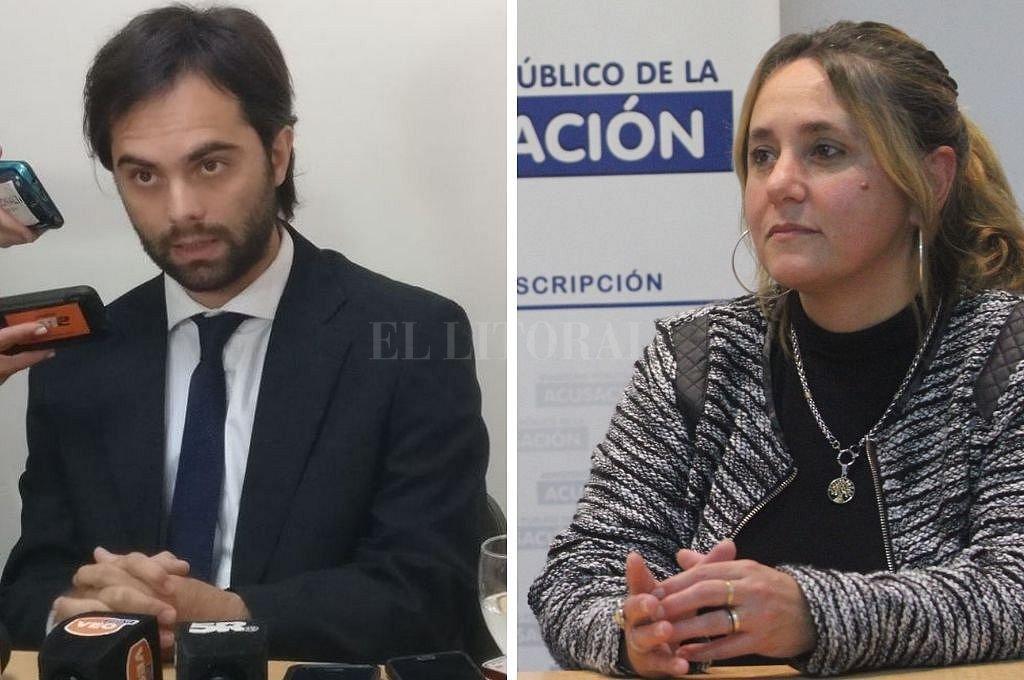 Los fiscales que investigaron el hecho, doctores Ezequiel Hernández y Mariela Jiménez Crédito: Archivo El Litoral
