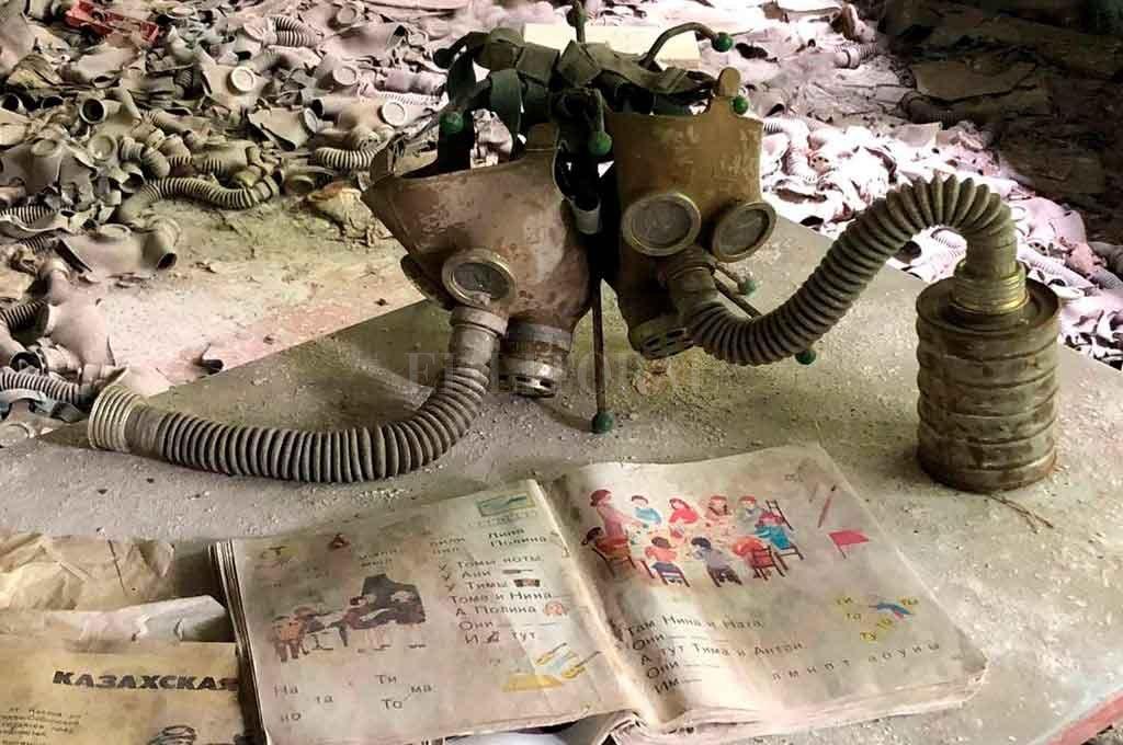 Las famosas máscaras que se utilizaban para protegerse de la radiación tras la explosión en la central nuclear. Crédito: Jano Colcerniani