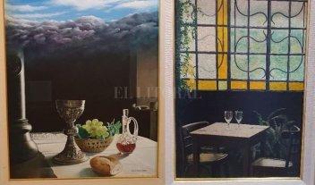 """""""De bodegones y bares"""" - Dos obras de la exposición de Luis Gervasoni, presentada en el Espacio de Arte de la Caja Forense."""