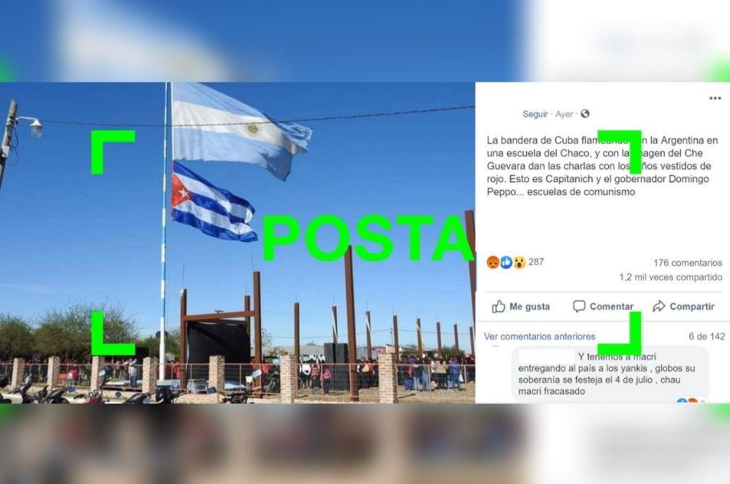 Son verdaderas las imágenes del acto en Chaco donde se ve una bandera de la Argentina junto a una de Cuba