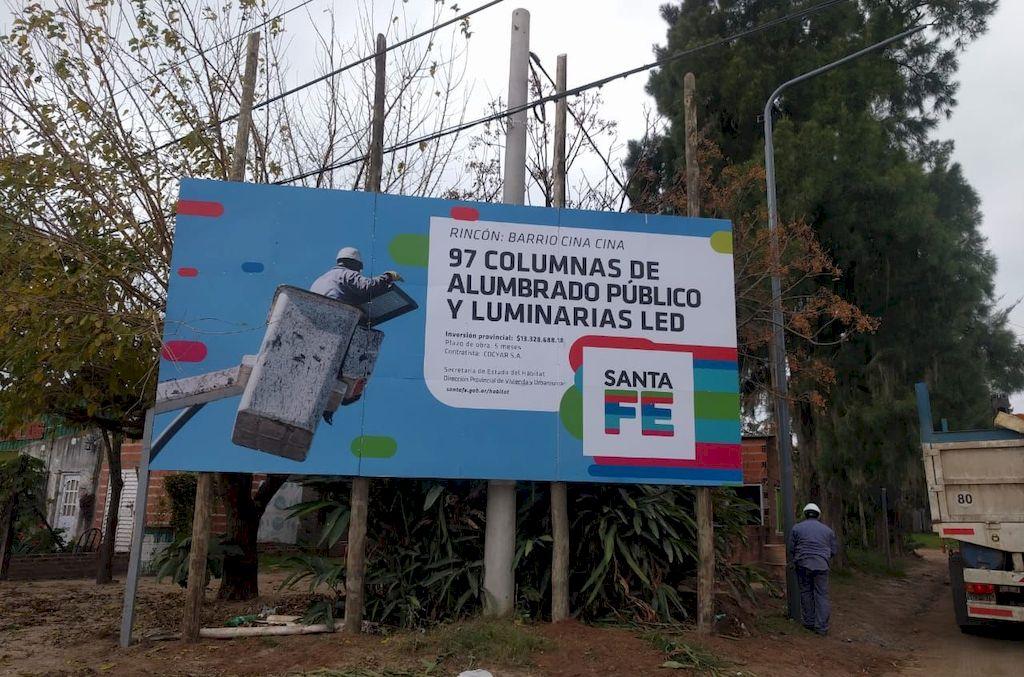 Iniciaron las obras de iluminación en tres barrios de San José del Rincón