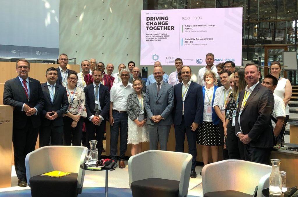 Representante. José Corral junto a Michal Kurtyka, presidente de la Conferencia de la ONU sobre Cambio Climático (COP24); Ashok Sridharan, alcalde de Bonn, y otros representantes de gobiernos locales. <strong>Foto:</strong> Municipalidad de Santa Fe