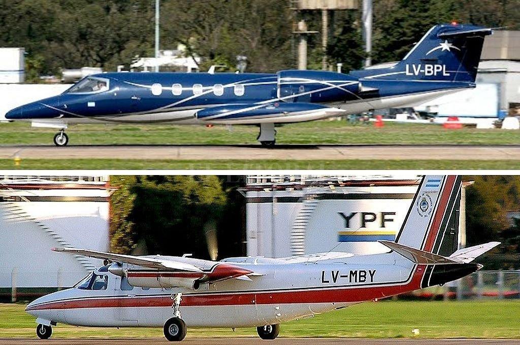 Las aeronaves, un Learjet matrícula LV-BPL y un Rockwell Commander matrícula LV-MBY, se encuentran en el aeropuerto de San Fernando sin operar por problemas técnicos. Crédito: Gentileza