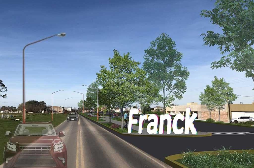 Nueva cara. Las obras encaradas sobre el acceso oeste de Franck refuncionalizarán el lugar y lo harán más vistoso.  <strong>Foto:</strong> Gentileza Comuna