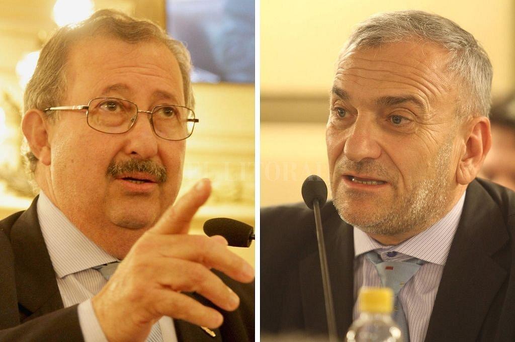 Miguel Cappiello (senador por el departamento Rosario) y Alcides Calvo (senador por el departamento Castellanos).. Crédito: Archivo El Litoral