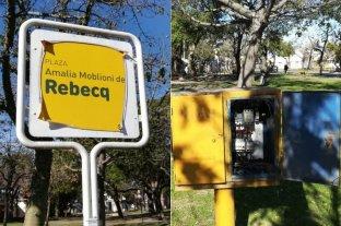 """Un peligro para niños """"atado con alambre"""" en la Plaza Rebecq"""
