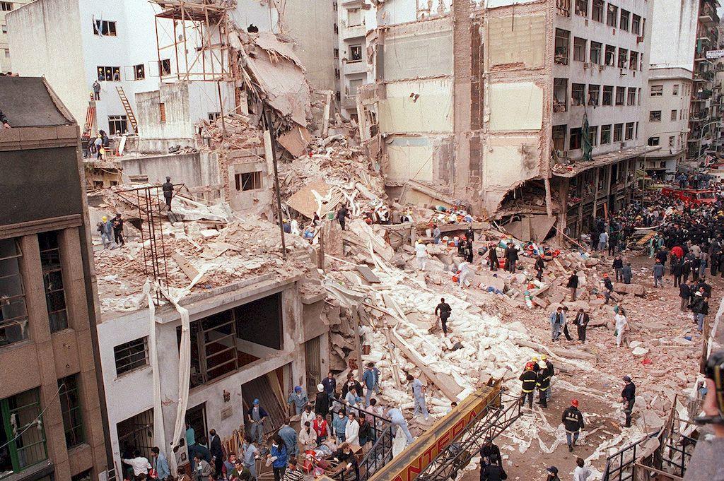 imagen del atentado a la AMIA. Crédito: Archivo