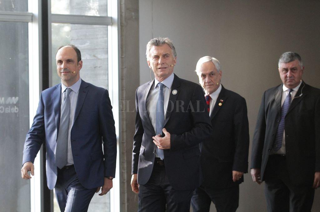 Macri y Piñera recorrieron el Museo de la Constitución y luego fueron a la sala acompañados por Bongiovanni y Corral. Crédito: Pablo Aguirre