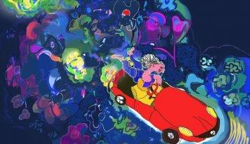 """Romance de un autito rojo"" - Nydia Andino, ""Entre las flores"", dibujo digital. -"