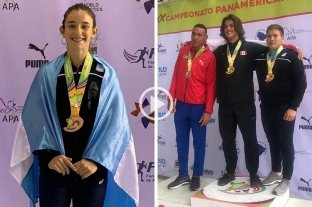 Bronce para Gómez Iriondo y Nóbile en Panamericano Juvenil - Lucia Gómez Iriondo y Julio Nóbile tras conseguir el bronce en sus disciplinas. -
